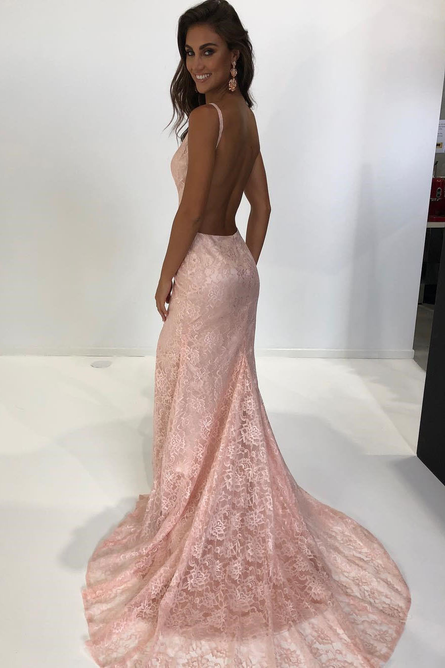 Fashion style Backless lace prom dresses for lady