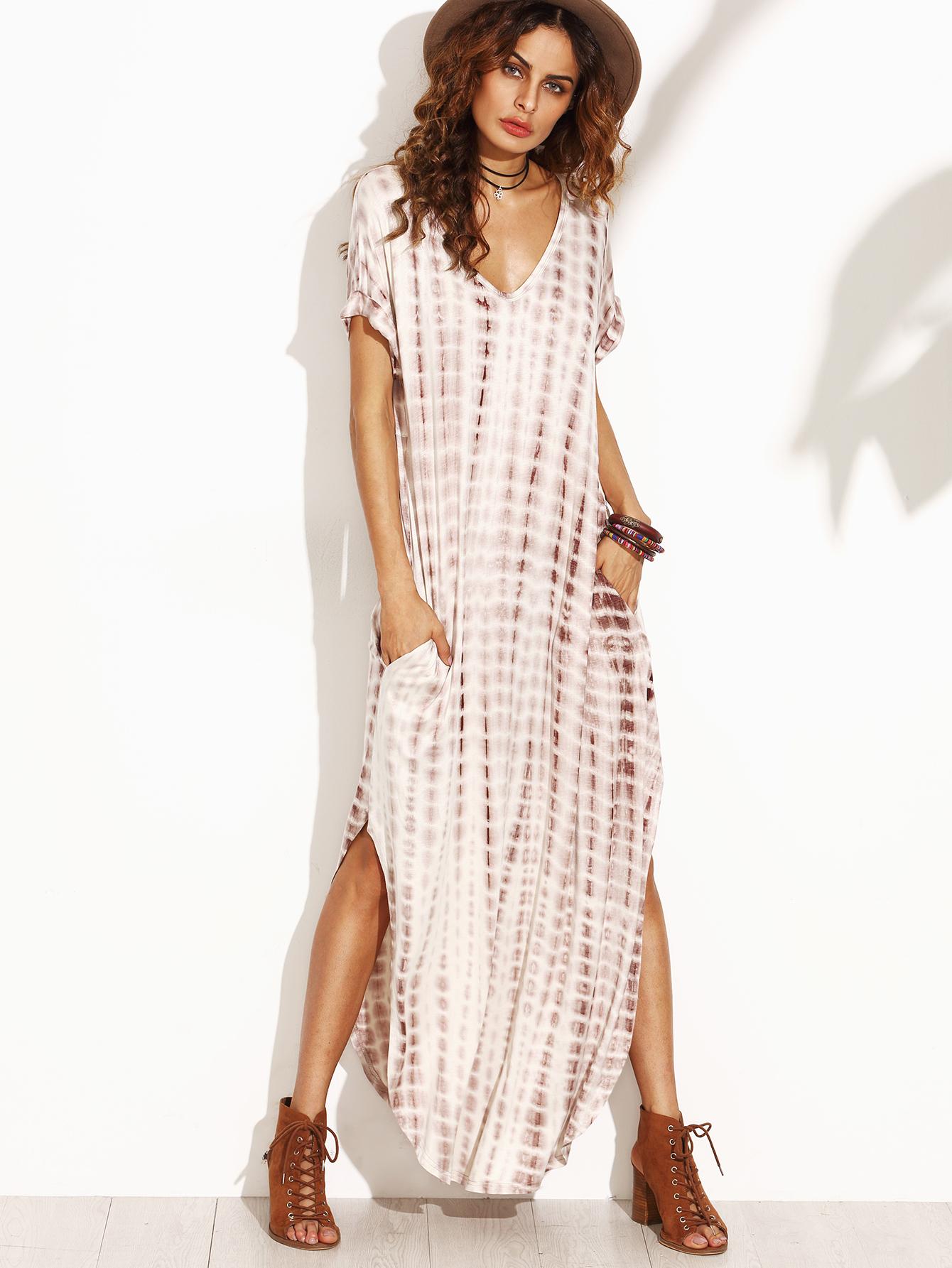 c0bedf7a74da1 Women's Tie Dye Print Maxi Dress w/ Split Curved Hem V-Neck Outfit ...