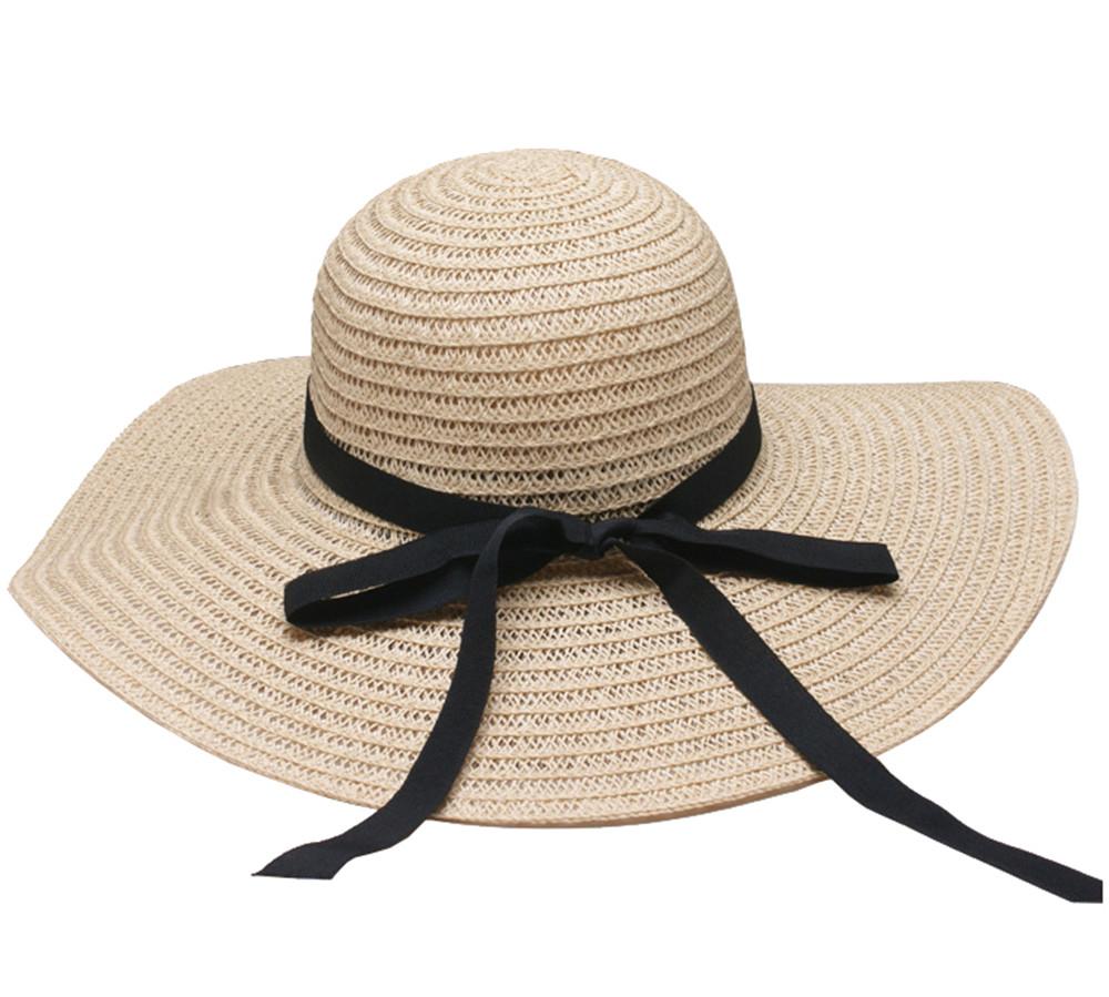 Womens Big Brim Floppy Straw Beach Hat Black Satin Bow Sunhade Hat for Summer  2018 ... 14dcdd6acf7e