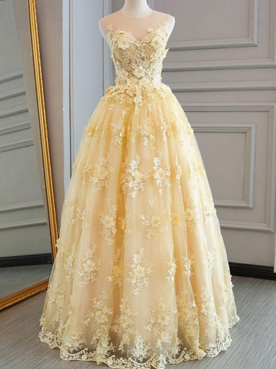 36a86caa89d Long Prom Dresses Scoop A-line Floor-length Lace Sexy Yellow Prom Dress  G321 on Storenvy