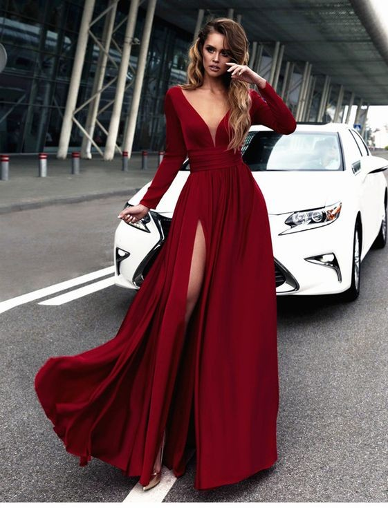 Sexy Red Prom Dress V Neck Long Sleeves Prom Dresses Chiffon Evening