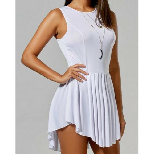 f46164469c0 Asymmetrical Short Sleeveless Pleated Dress on Storenvy