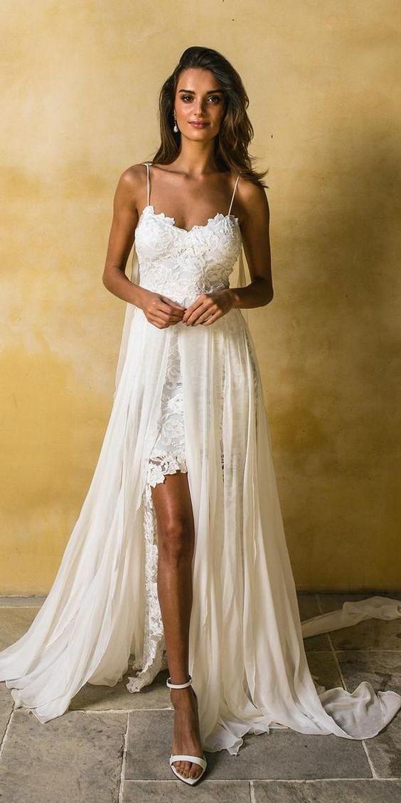 Sexy Beach Wedding Dress Spaghetti Straps Lace Wedding Dresses