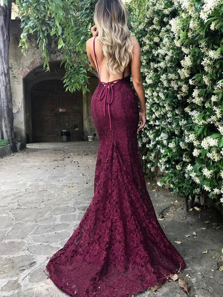 V Neck Burgundy Lace Prom Dress On Storenvy