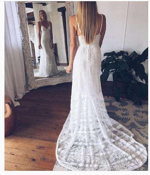 5f8b5d099865 Lace Boho Wedding Dress, Bohemian Lace Wedding Dress, Off Shoulder Backless  Lace Wedding Dress