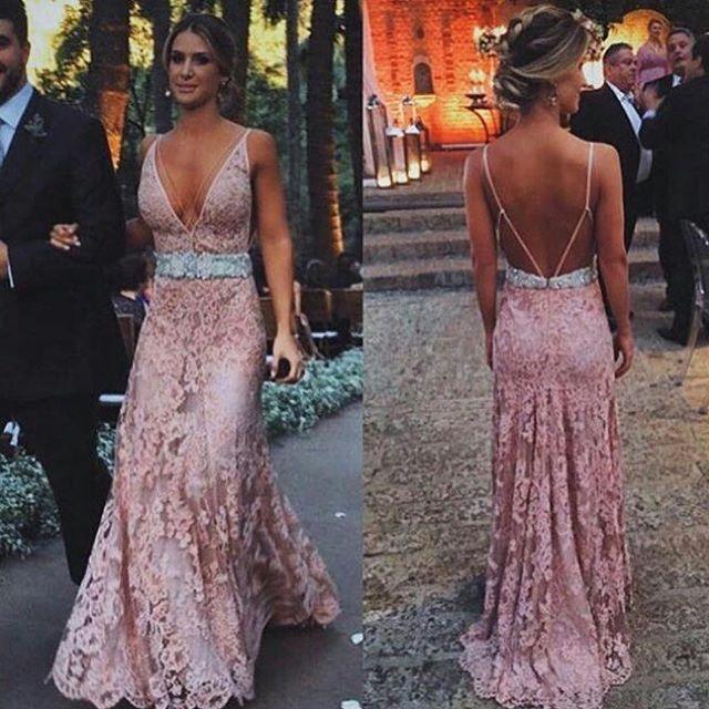 7c13c43043 Blush Pink Lace 2018 Evening Dresses Long Deep V-Neck Spaghetti Straps Open  Back 2018 Prom Dress on Storenvy