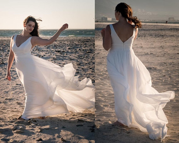 2018 boho wedding dress, simple beach wedding dress, casual wedding dress,  bohemian wedding dress, beach wedding dress, plus size wedding dress