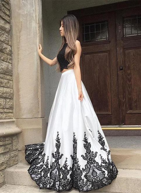 Petite Black And White Lace Long Prom Dress Two Pieces