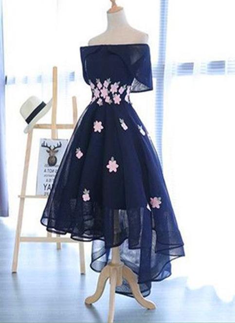 Navy Blue Chiffon Off Shoulder High Low Homecoming Dress