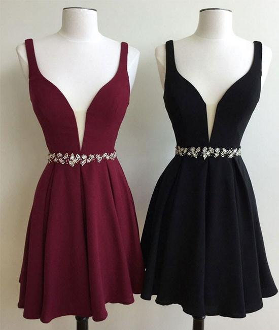 85ff3d4f16c3 2018 Burgundy Homecoming Dresses Deep V Neck Cute Sleeveless Black ...