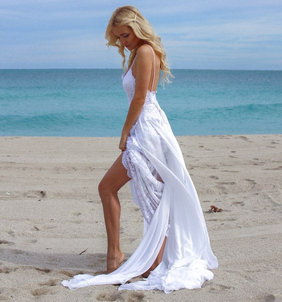 2019 Beach Boho Wedding Dress Spaghetti Straps Lace Wedding Dress