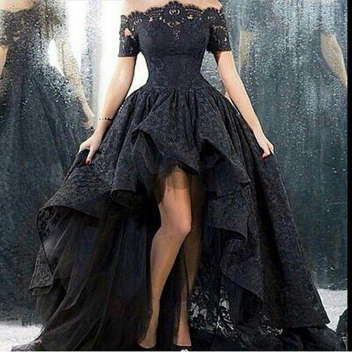 9539dec1abd3 Off Shoulder Black High Low Lace Prom Evening Gowns