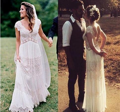 vintage lihi hod wedding dresses sheer deep v neck backless bohemia lace applique 2018 wedding. Black Bedroom Furniture Sets. Home Design Ideas