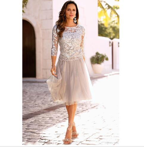 42c48cc81afd Newest Short Mother Of The Bride Dresses Lace Tulle Knee Length 3 4 Long  Sleeves
