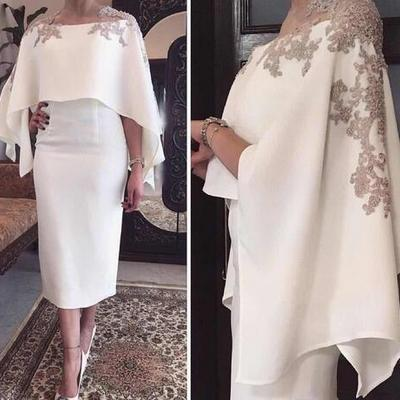 a776c37137b3c Jewel tea length white applique mother of the bride with wrap elegant new  special occasion dresses