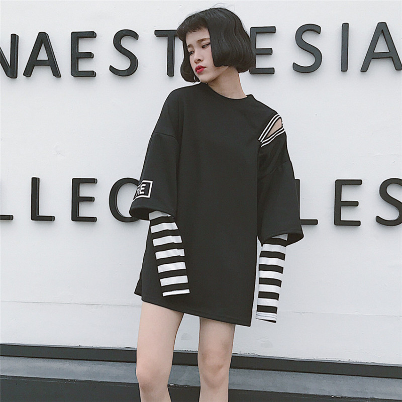 65c52a3b734c0 New Harajuku Fake Two Piece Women T-Shirt Korean Ulzzang Striped Graphic  Tops 2018 Casual Oversize Funny Female Loose White Tee