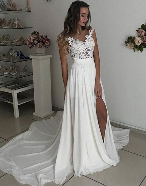 Summer Wedding Dress.Beach Wedding Dresses Summer Wedding Dresses High Splits Wedding Dresses Lace Wedding Dresses From Misszhu Bridal