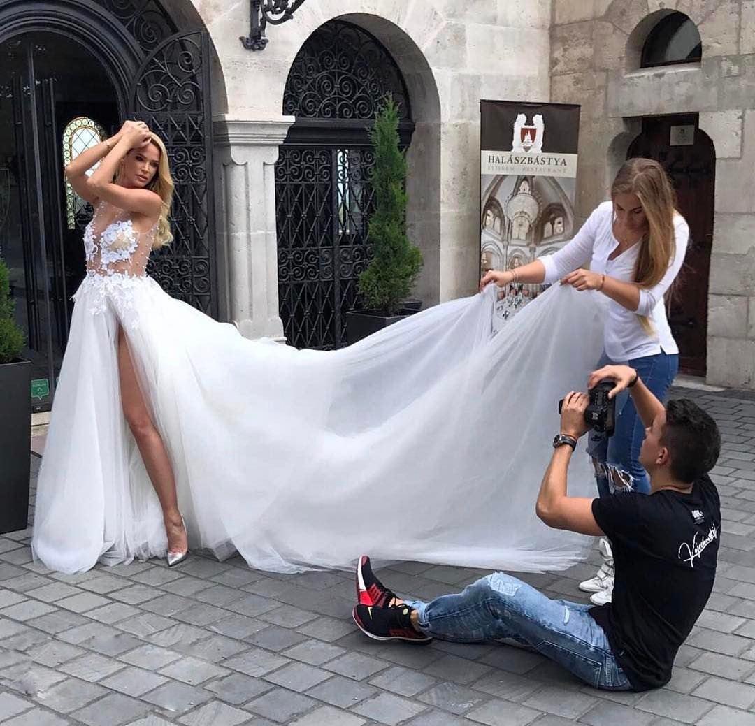 Lace Wedding Dresses Beach Wedding Dresses V Neck Wedding Dresses High Split Bridal Gowns From Misszhu Bridal