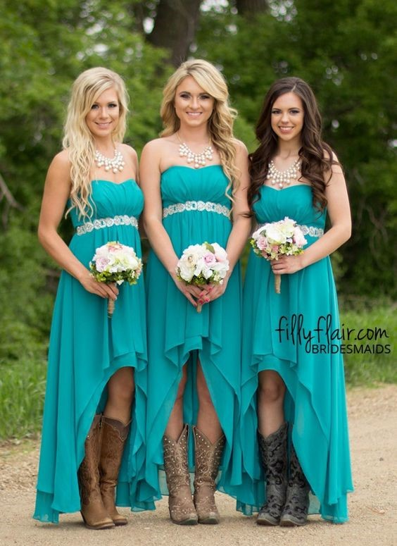 Modest Teal Turquoise Bridesmaid Dresses 2018 Cheap High Low Country  Wedding Guest Gowns Under 100 Beaded Chiffon Junior Plus Size Maternity  from ...