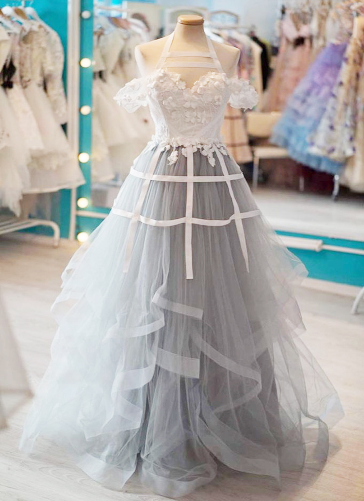 54b69e86ca4 Cheap Prom Dresses by SweetheartDress · Gray tulle sweetheart neck ...