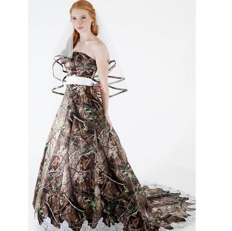 Camouflage Wedding Dresses.Modest Camo Wedding Dresses Strapless Appliques Backless Camouflage Country Wedding Gowns Brush Train Bridal Dresses