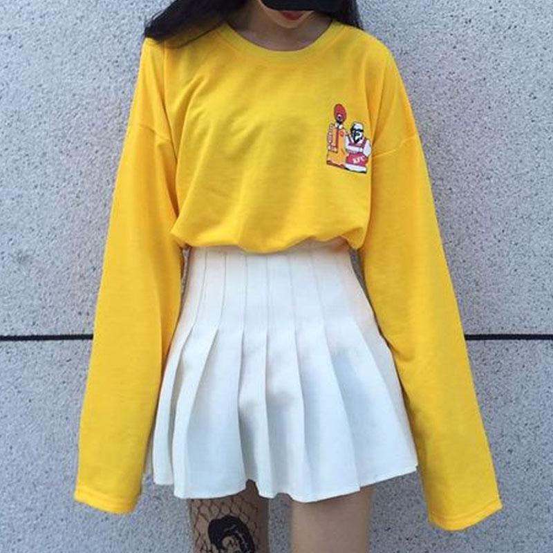 Kpop Harajuku T Shirt Loose Long Sleeve Cartoon Yellow Tops