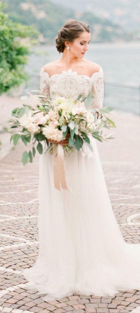 Elegant Bohemian Mermaid Wedding Dress, Lace Boho Wedding ...
