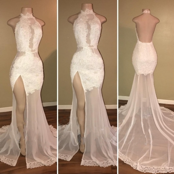 9da63616ae94 Lace Backless Prom Dresses, High Neck Evening Gowns, Backless Mermaid Prom  Dress