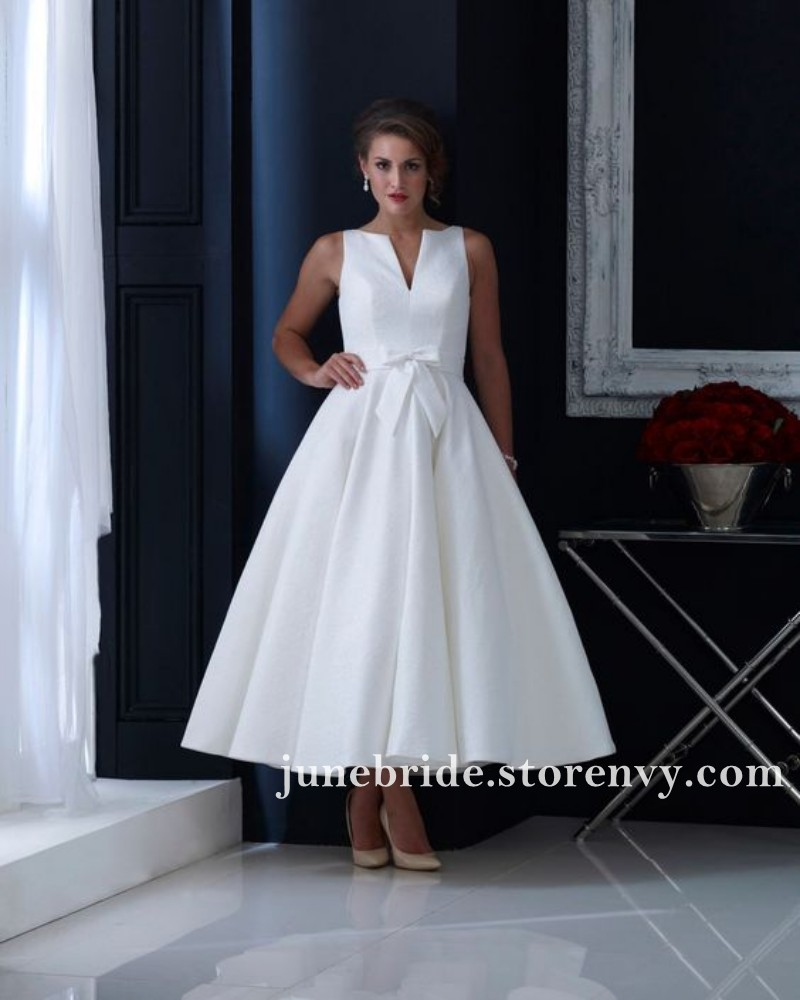 Vintage Tea Length Ball Gown Wedding Dresses Draped V Neck ...