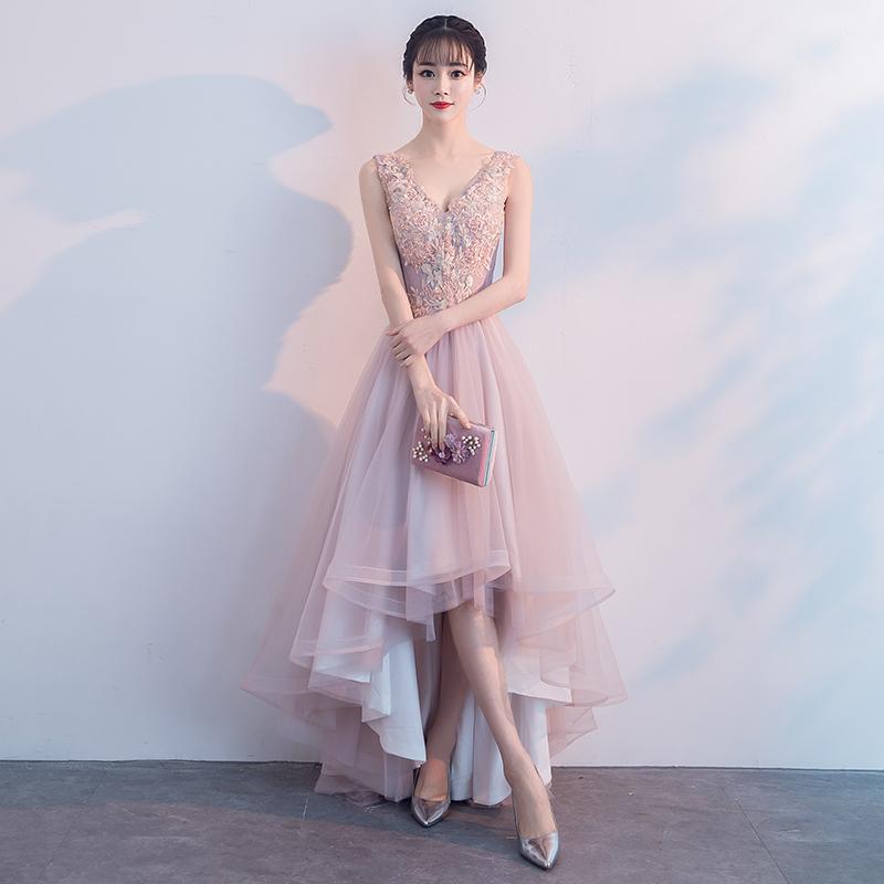 5e7e2ec5 Elegant High Low Prom Dress,Lace Appliques V-Neck Homecoming Dresses,Pink  Lovely