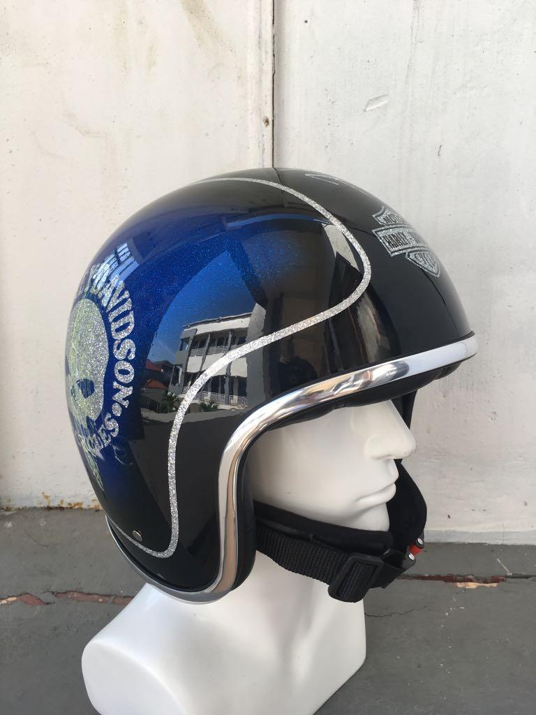 Blue Glitter Harley Davidson Motorcycle Open Face Helmets