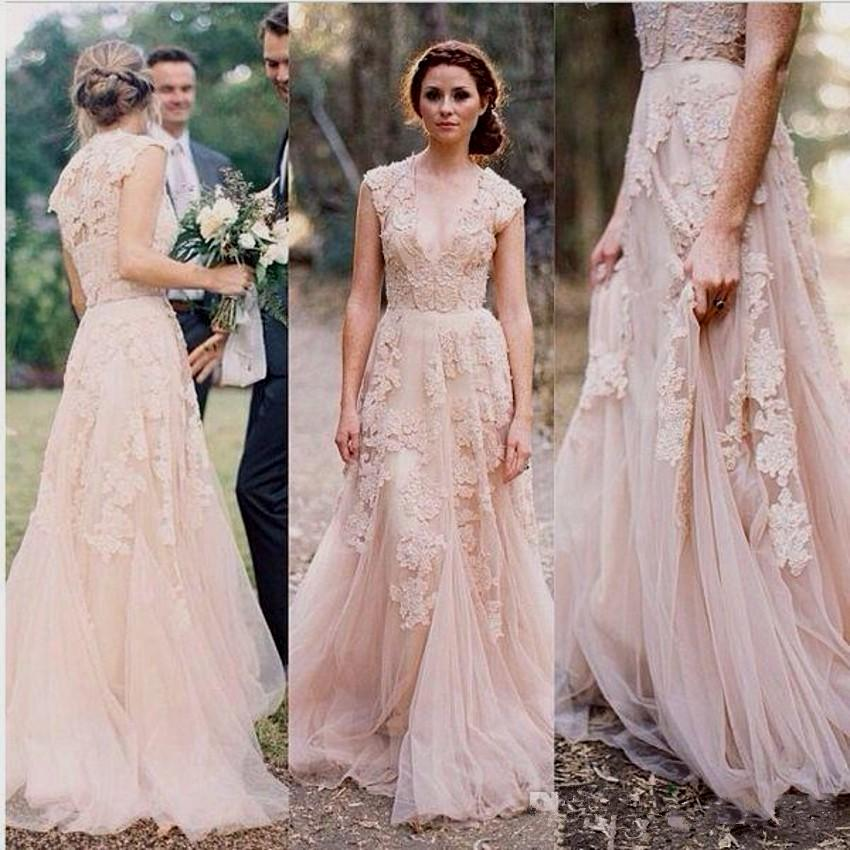 2018 Cheap Country A Line Wedding Dresses V Neck Lace Appliques Blush Pink Champagne Long Sweep Train Formal Bridal Gowns