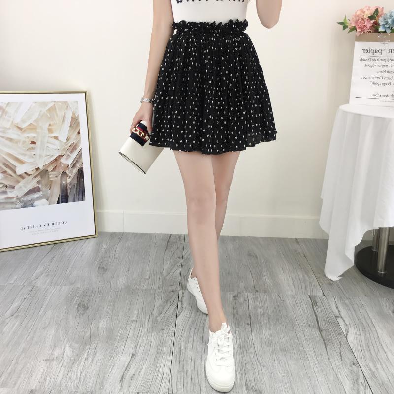 e072022689 Summer New Korean Style Sweet Dot Printed High Waist Chiffon Pleated Skirts  Women Casual Cute Skirts Womens on Storenvy