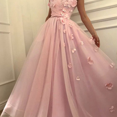 da191b20d7e3 Beautiful pink long evening dress off shoulder v neck flowers beaded long  prom gowns with bowknot