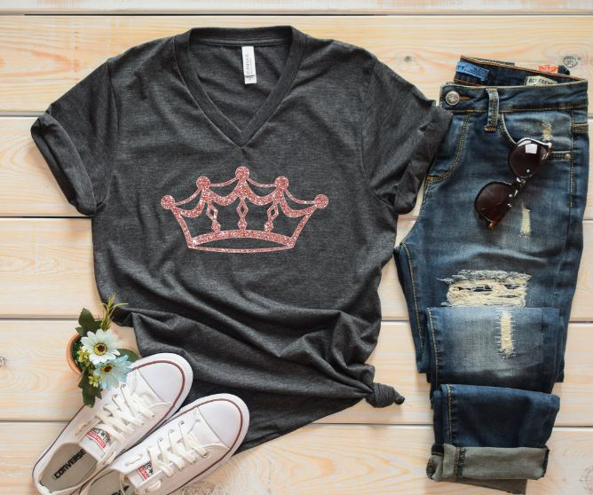 6ffd98bb8 Queen Graphic Tee - Tiara Diva Pageant TShirt - Grey Rose Gold ...