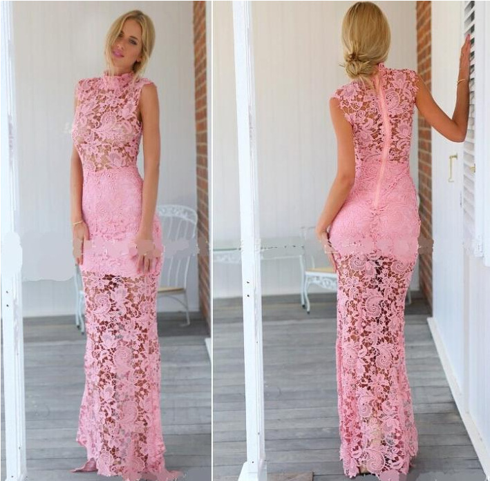 895c9c910b Pink Long Evening Dresses 2018 Full Lace High Neck Sheath Floor Length  Formal Prom Gown
