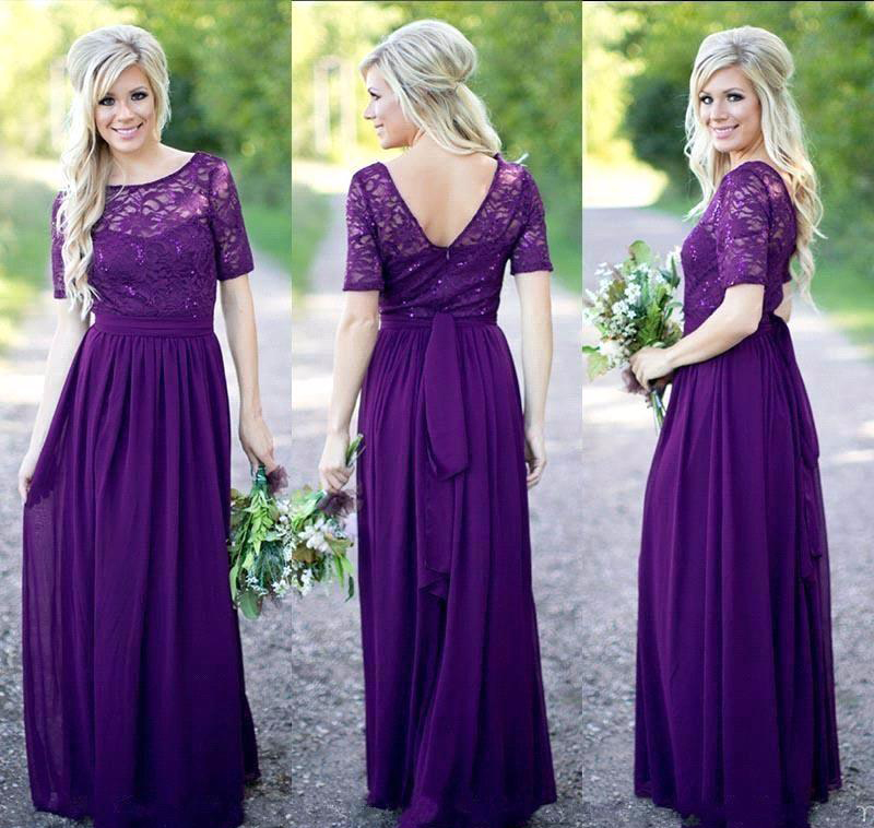 a885f7b54e1 Purple Bridesmaid Dress Lace Top Short Sleeve Jewel Neck Sexy Backless  Floor Length Chiffon Country Wedding