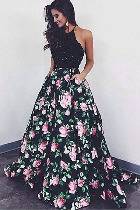 High Quality Halter Ball Gown Floral Backless Black Long Prom Dress