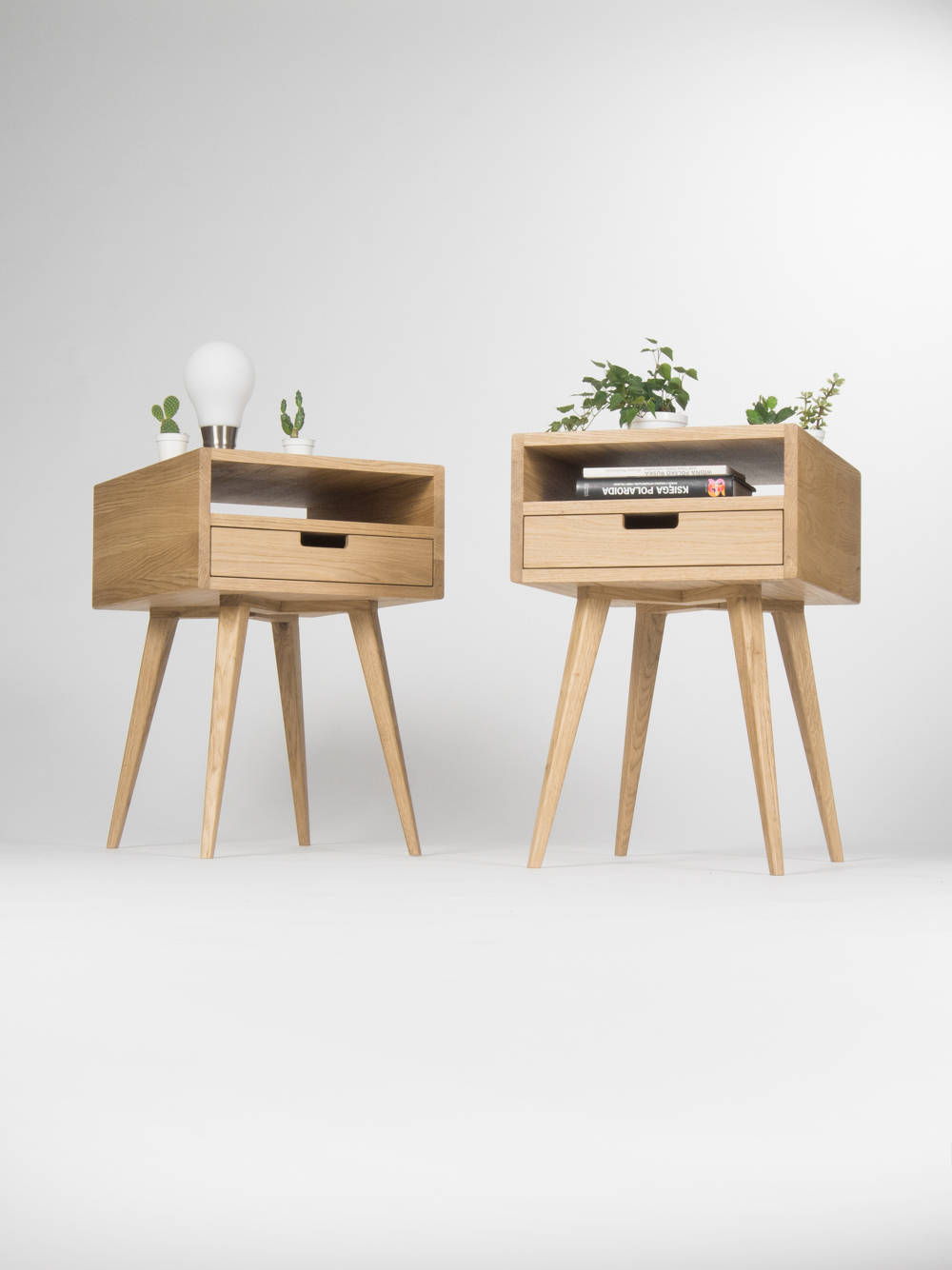 Image of: Pair Of Mid Century Modern Nightstand Bedside Table End Table With Solid Oak Drawer And Open Shelf Oak Wood Sold By Mo Woodwork On Storenvy