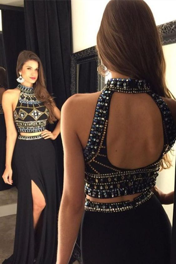 7ebb642a80545 Black Two Piece Prom Dress High Neck Sexy Open Back Sequins Crystal Beaded  High Slit Formal