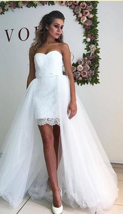 White Lace Wedding Dress Sweetheart Summer Wedding Dresses Detachable Tulle Train Handmade Bridal Gown Sold By Foundlove