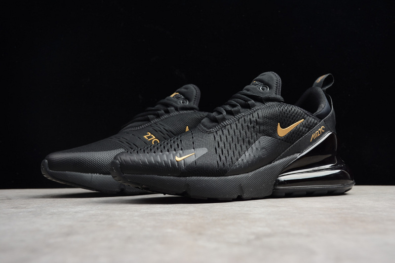 0726ac88367 Nike Air MAX 270 All Balck Gold Running Shoes on Storenvy