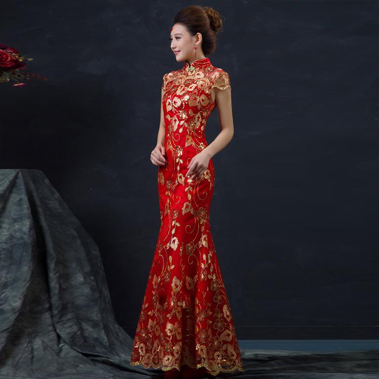 40491f29513 Women Chinese Traditional Sleeveless Cheongsam Gold Long Qipao Dress ...