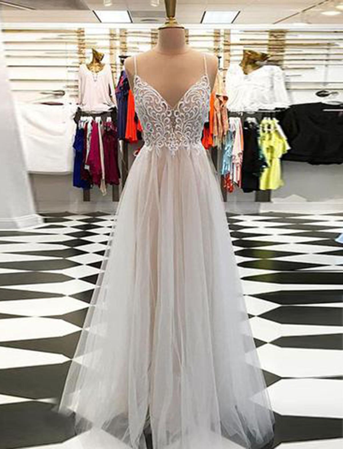 25ca979bfa30 Light gray tulle spaghetti straps open back long V neck prom dress ...