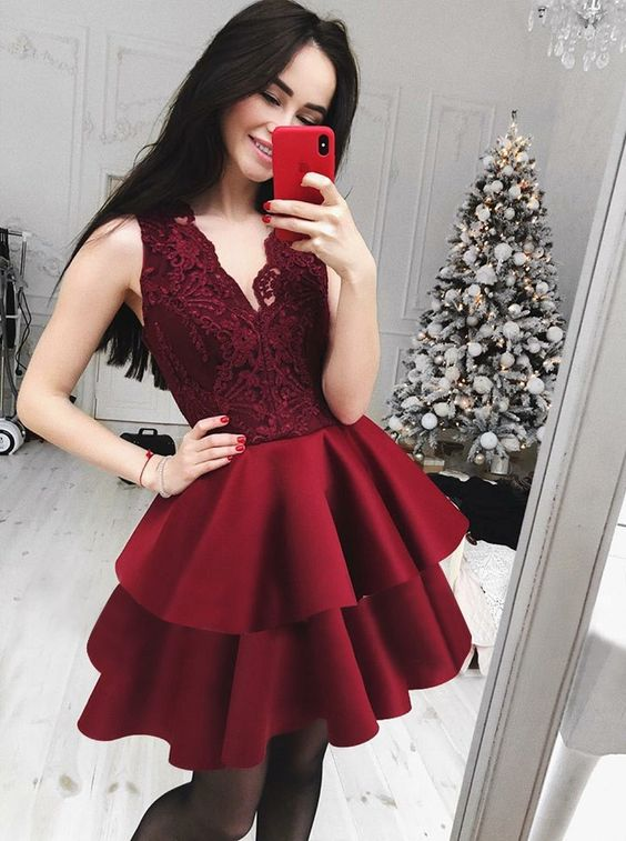 A Line V Neck Tiered Dark Red Homecoming Dress With Lace Prom