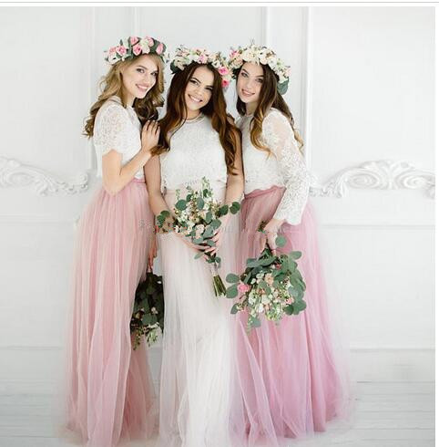 49d3367c0b0 White Pink Boho Bridesmaid Dresses 2018 Lace Top Tulle Floor Length Summer  Beach Bridesmaid Gowns Party