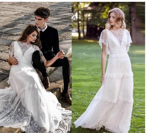White Lace Beach Wedding Dresses Bateau Short Sleeve Country Bridal Gowns Floor Length Boho Wedding Gown Vestido De Novia From Mrtang