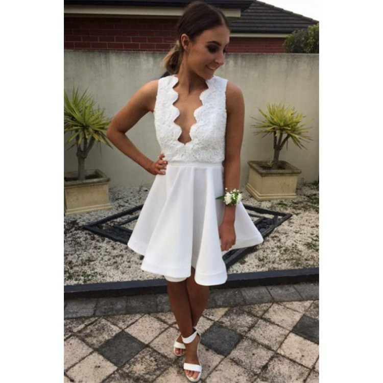 604a7e0d310 White Homecoming Dress Lace Top Sexy Deep V-Neck Open Back Simple A-Line