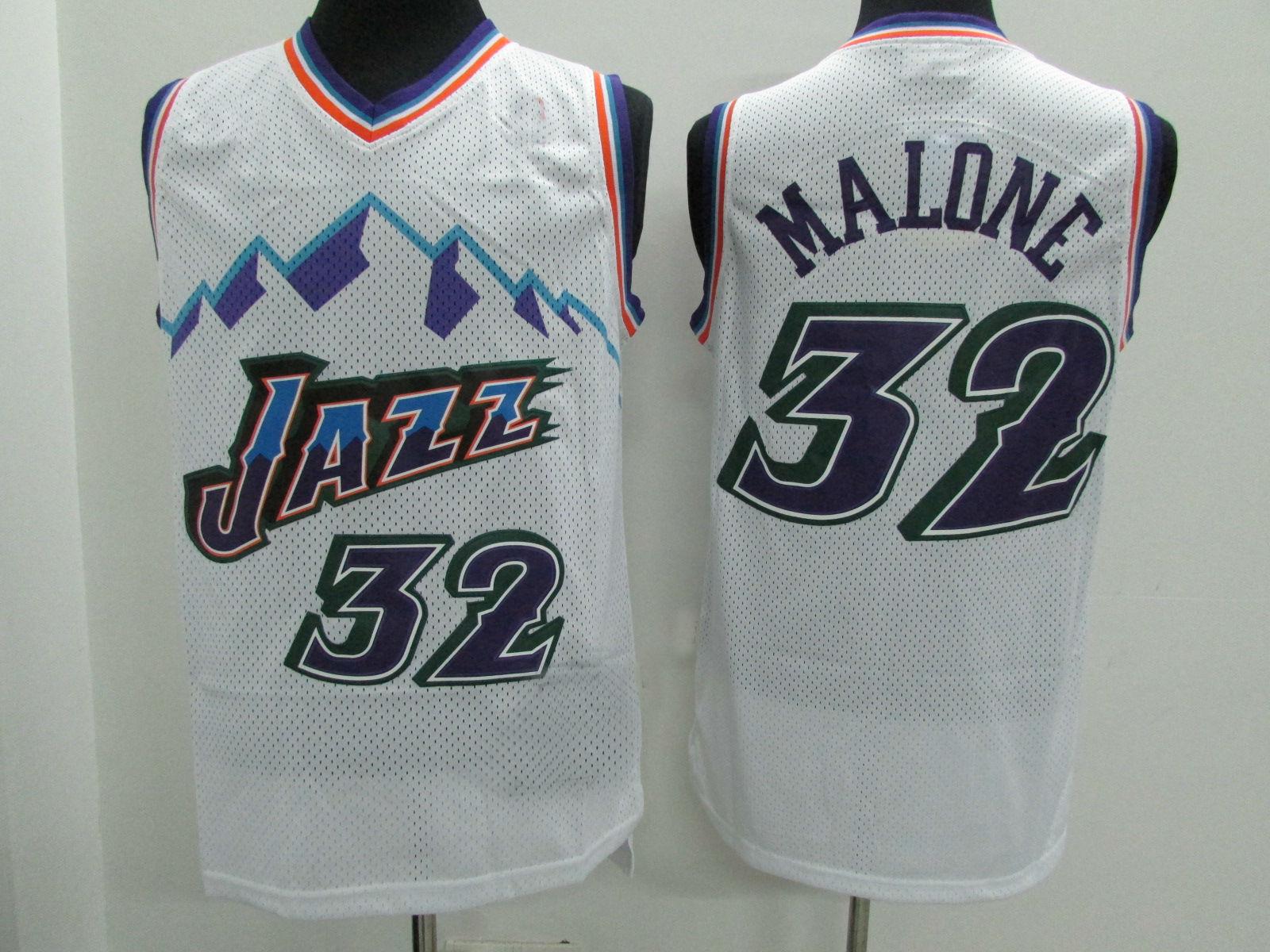 8d1d957d2e46 Utah Jazz Retro Jerseys  32 Malone White Throwback Basketball Jersey ...