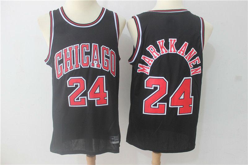 low priced e3739 559ac 2017-18 Chicago Bulls #24 Lauri Markkanen Basketball Jersey Black from  teamjerseyinc